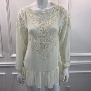 Sundance S Tunic Top Lace Embroidered Cream A4